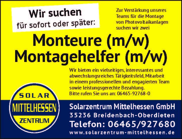 WIR SUCHEN DICH – Ab sofort Monteure (m/w) & Montagehelfer (m/w)